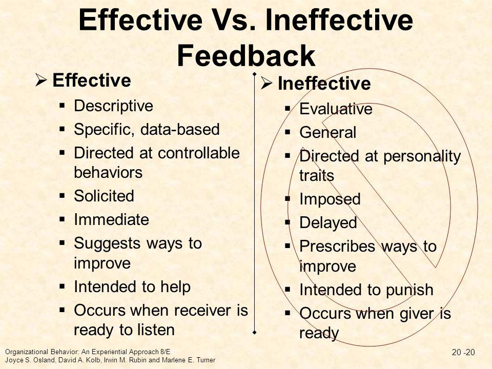 Effective Vs. Ineffective Feedback