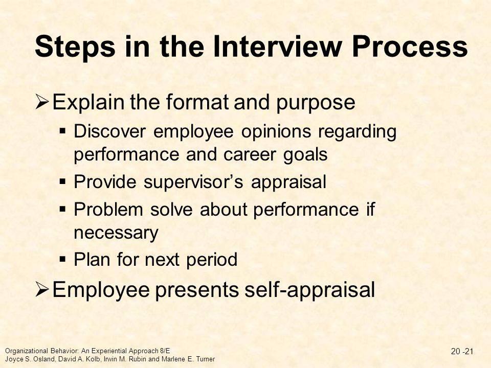 Steps in the Interview Process