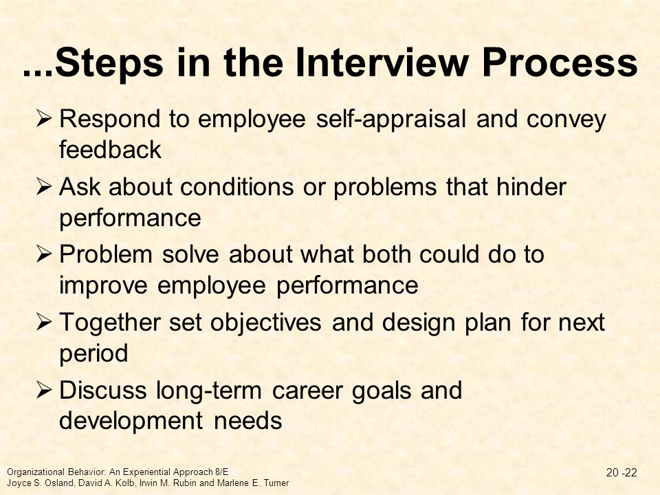 ...Steps in the Interview Process