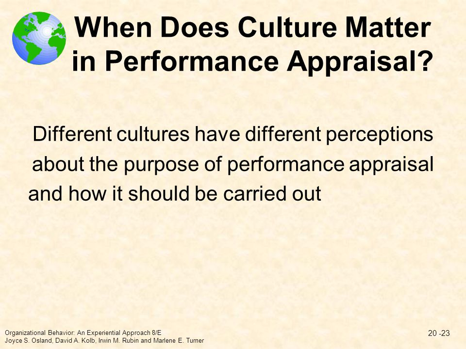 When Does Culture Matter in Performance Appraisal