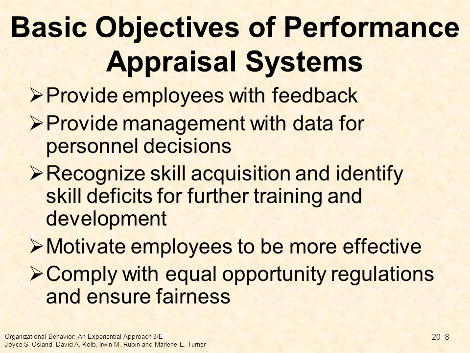 Basic Objectives of Performance Appraisal Systems