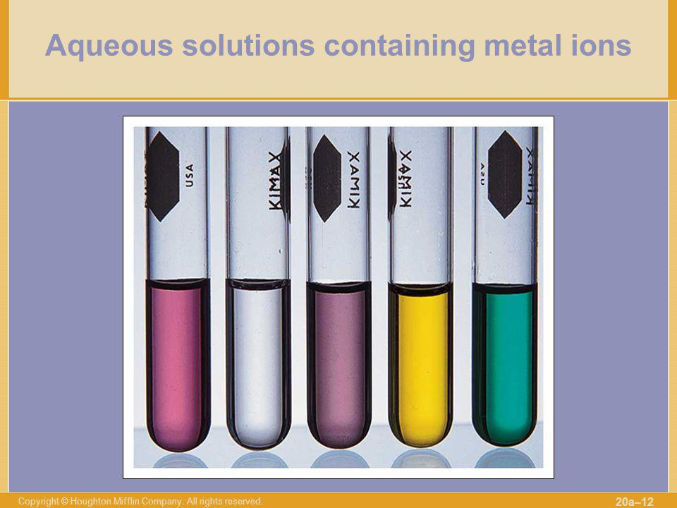 Aqueous solutions containing metal ions