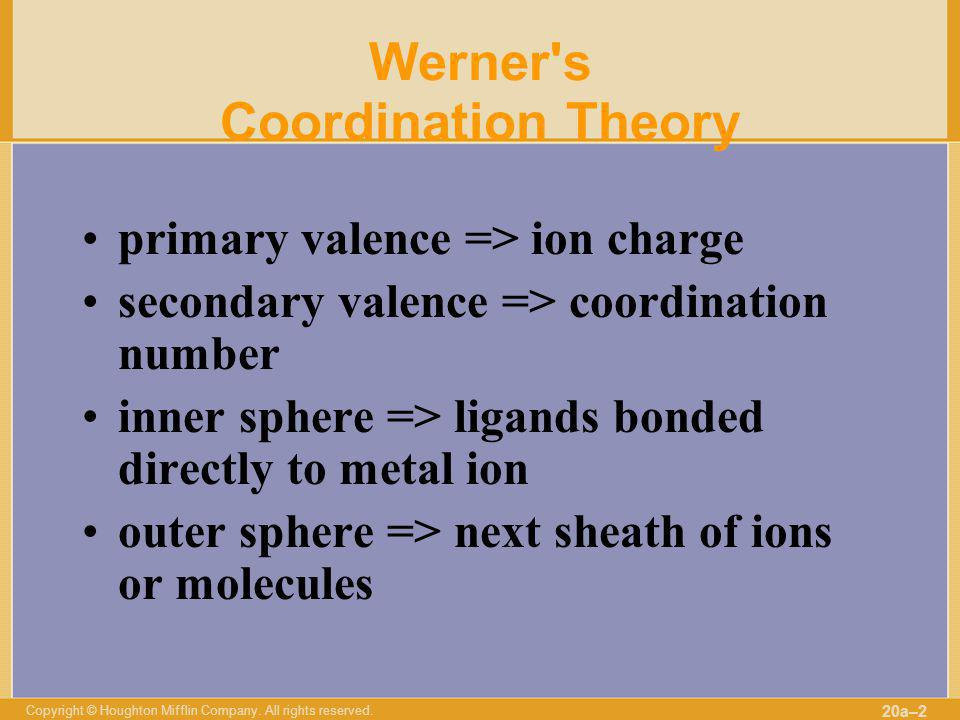 Werner s Coordination Theory