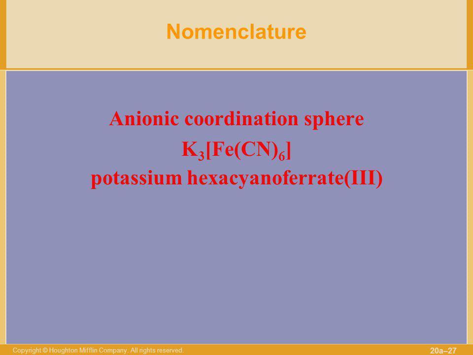 Anionic coordination sphere potassium hexacyanoferrate(III)
