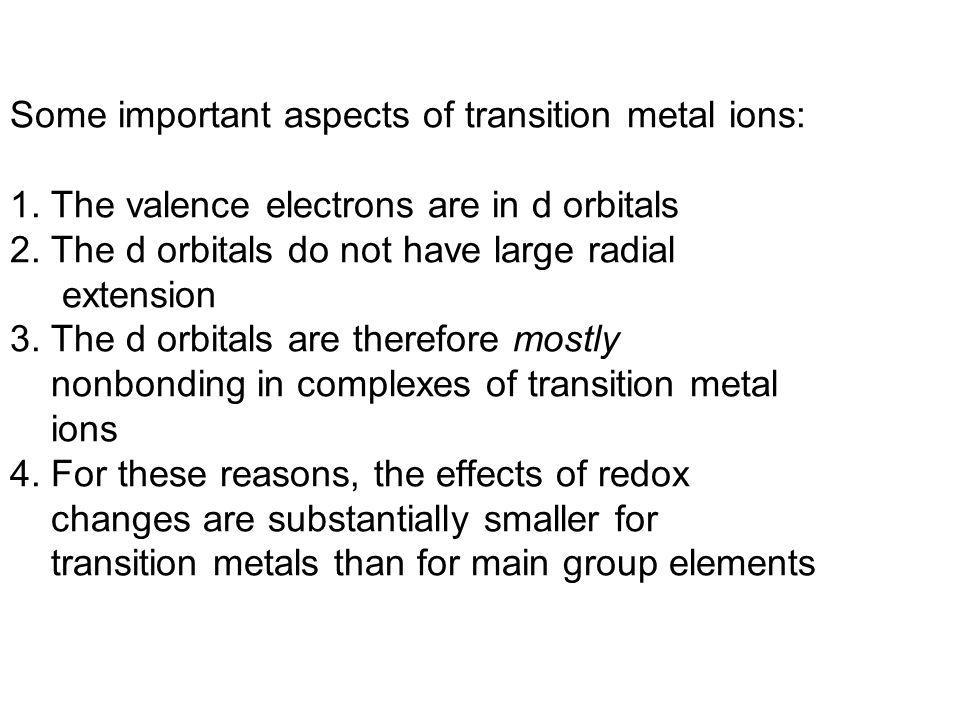 Some important aspects of transition metal ions: 1