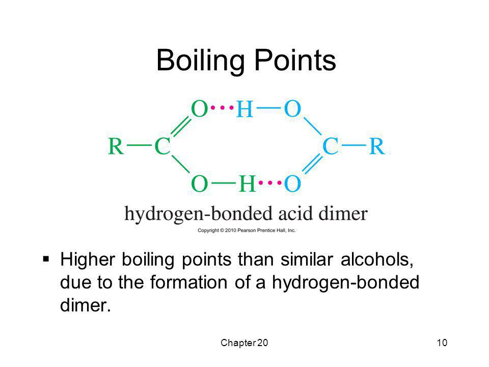 Boiling Points Higher boiling points than similar alcohols, due to the formation of a hydrogen-bonded dimer.