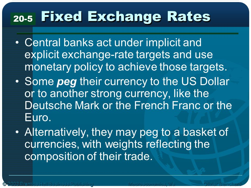 Fixed Exchange Rates 20-5. Central banks act under implicit and explicit exchange-rate targets and use monetary policy to achieve those targets.