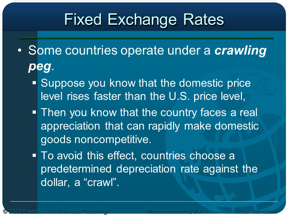 Fixed Exchange Rates Some countries operate under a crawling peg.
