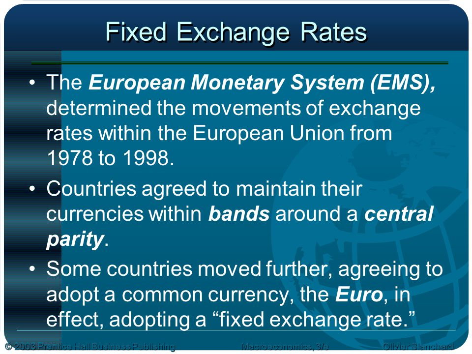 Fixed Exchange Rates The European Monetary System (EMS), determined the movements of exchange rates within the European Union from 1978 to 1998.