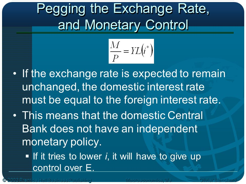 Pegging the Exchange Rate, and Monetary Control