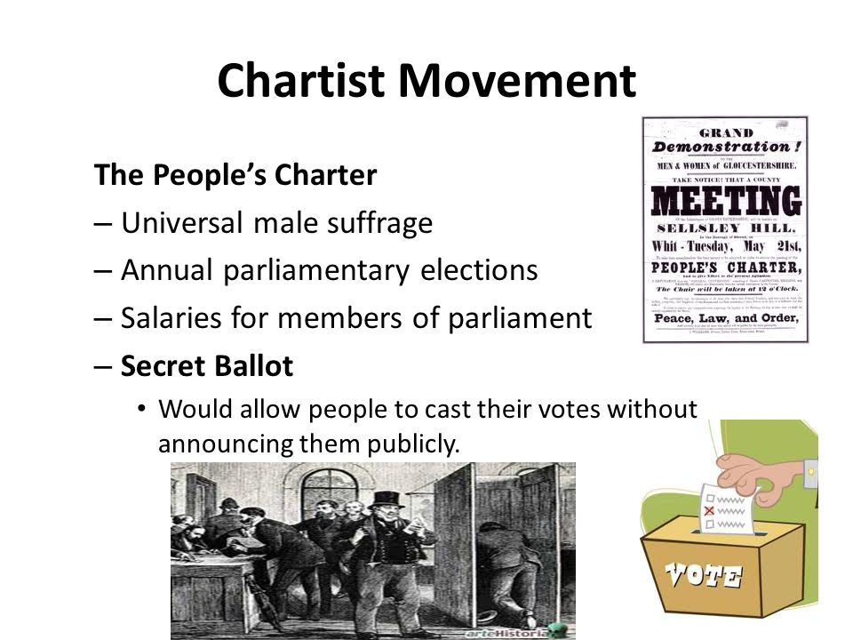 Chartist Movement The People's Charter Universal male suffrage