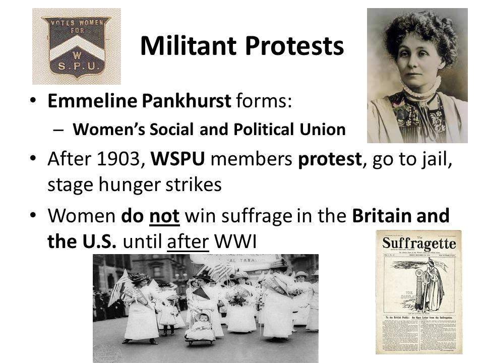 Militant Protests Emmeline Pankhurst forms: