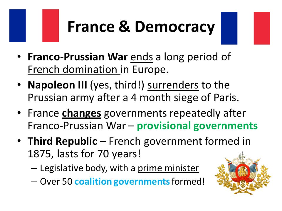 France & Democracy Franco-Prussian War ends a long period of French domination in Europe.