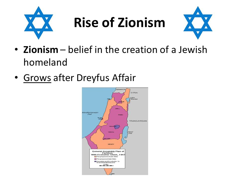 Rise of Zionism Zionism – belief in the creation of a Jewish homeland