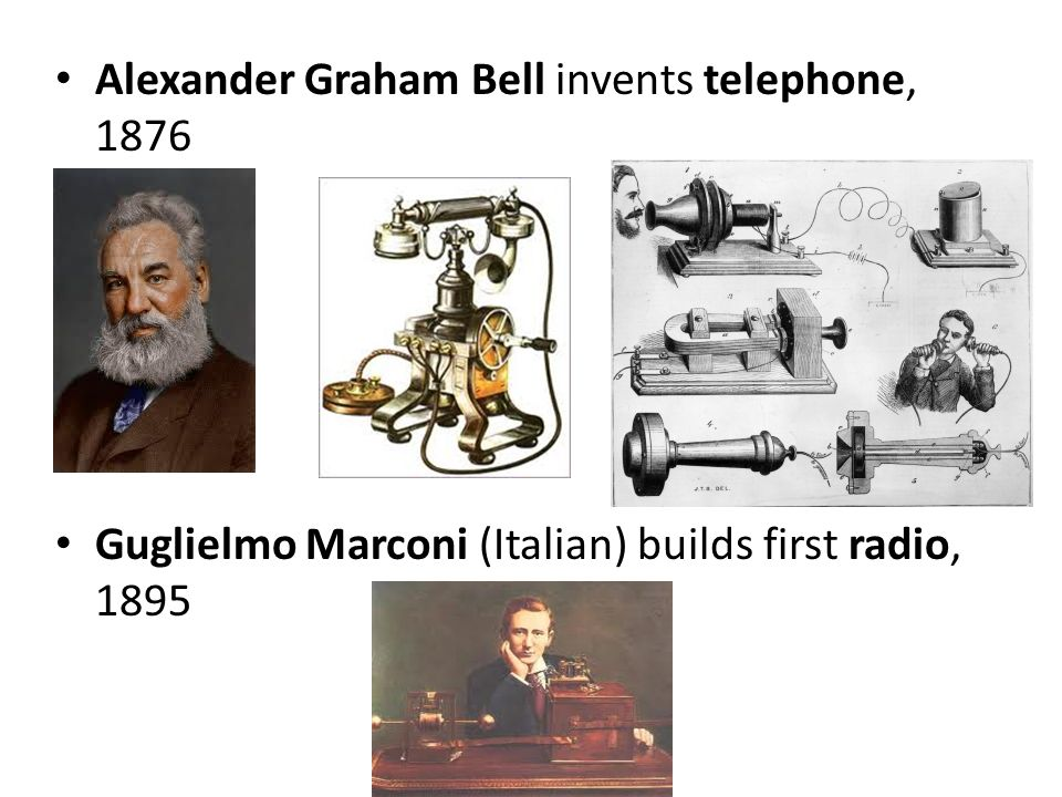Alexander Graham Bell invents telephone, 1876