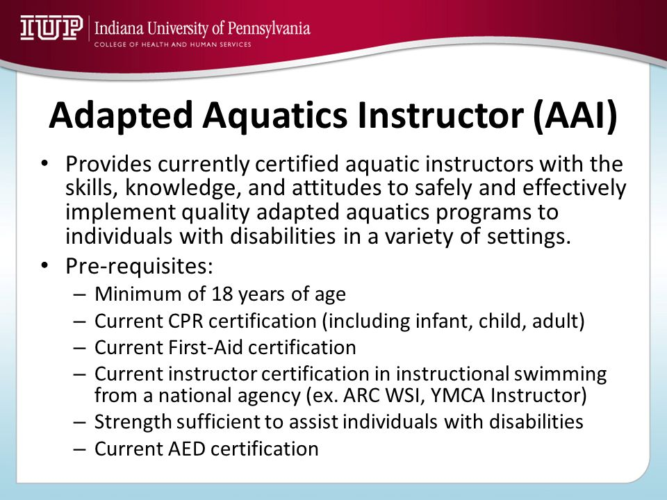 Adapted Aquatics Instructor (AAI)
