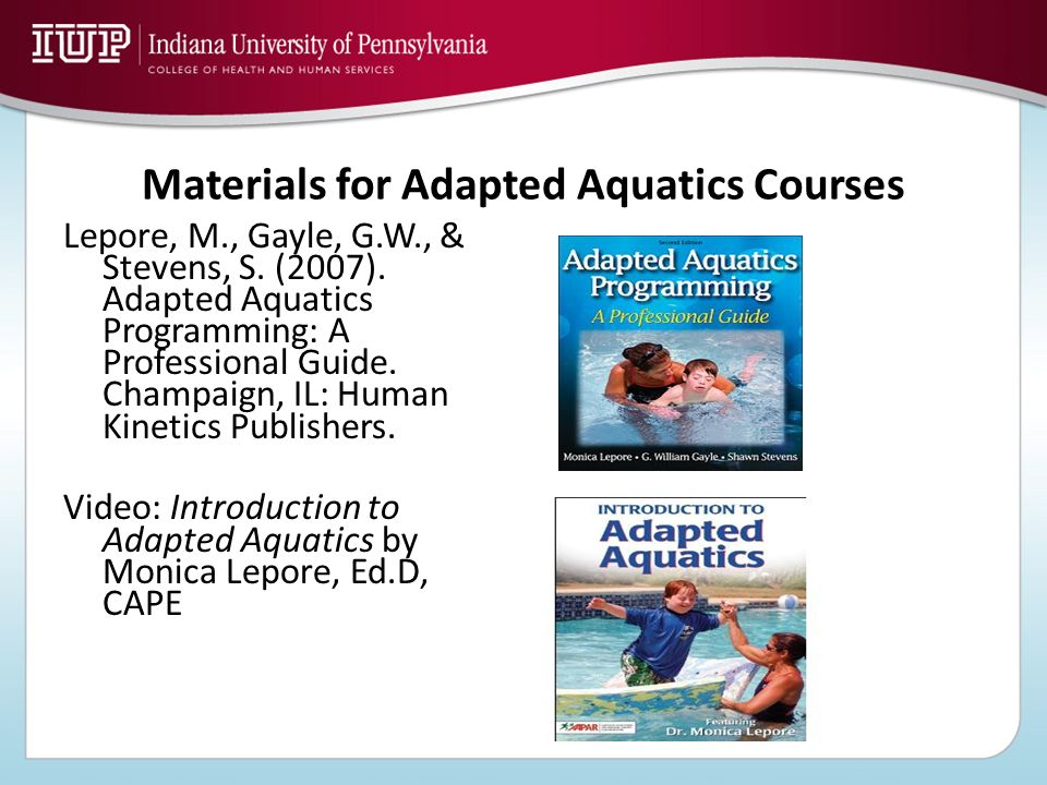 Materials for Adapted Aquatics Courses