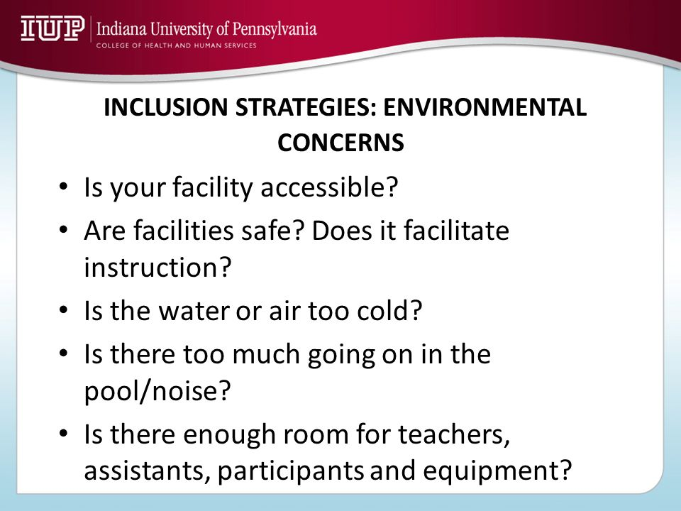 INCLUSION STRATEGIES: ENVIRONMENTAL CONCERNS