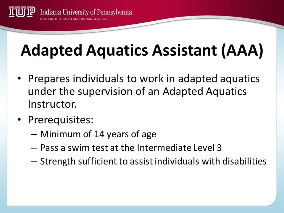 Adapted Aquatics Assistant (AAA)
