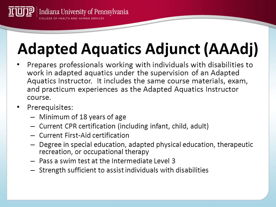 Adapted Aquatics Adjunct (AAAdj)