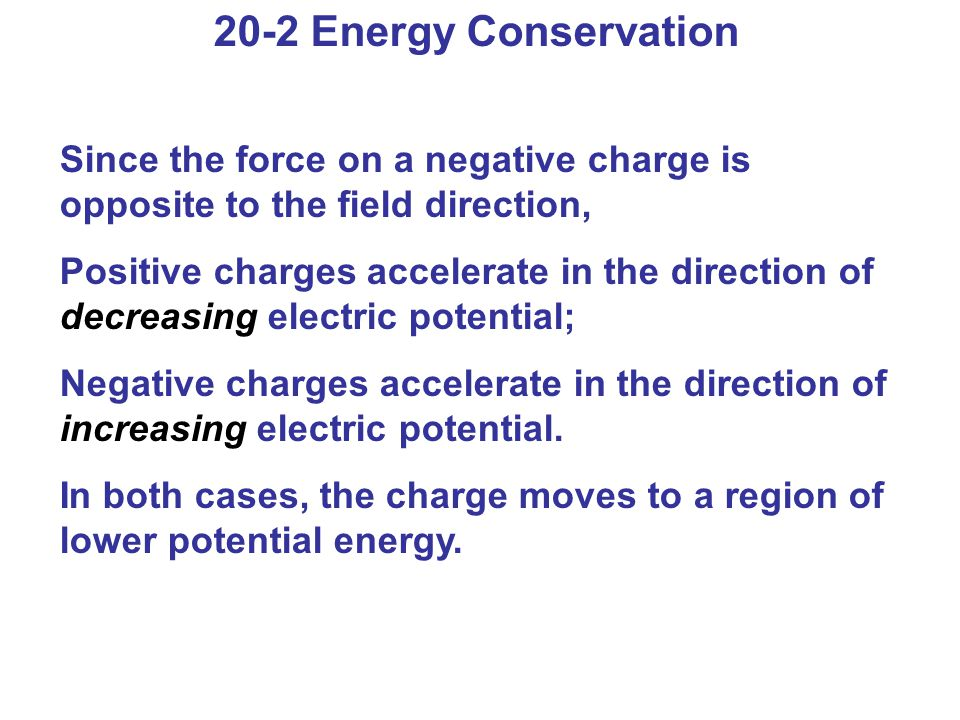 20-2 Energy Conservation Since the force on a negative charge is opposite to the field direction,