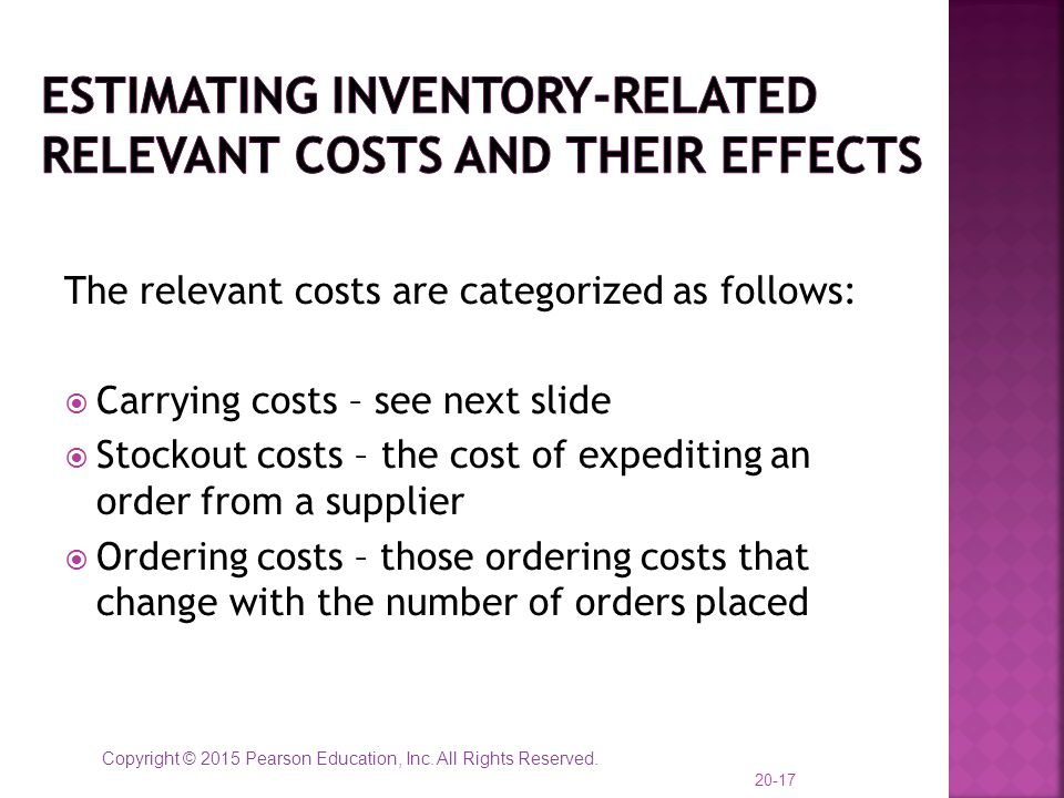 Estimating Inventory-Related Relevant Costs and their effects
