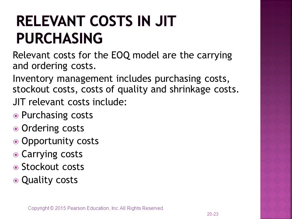Relevant Costs in JIT Purchasing
