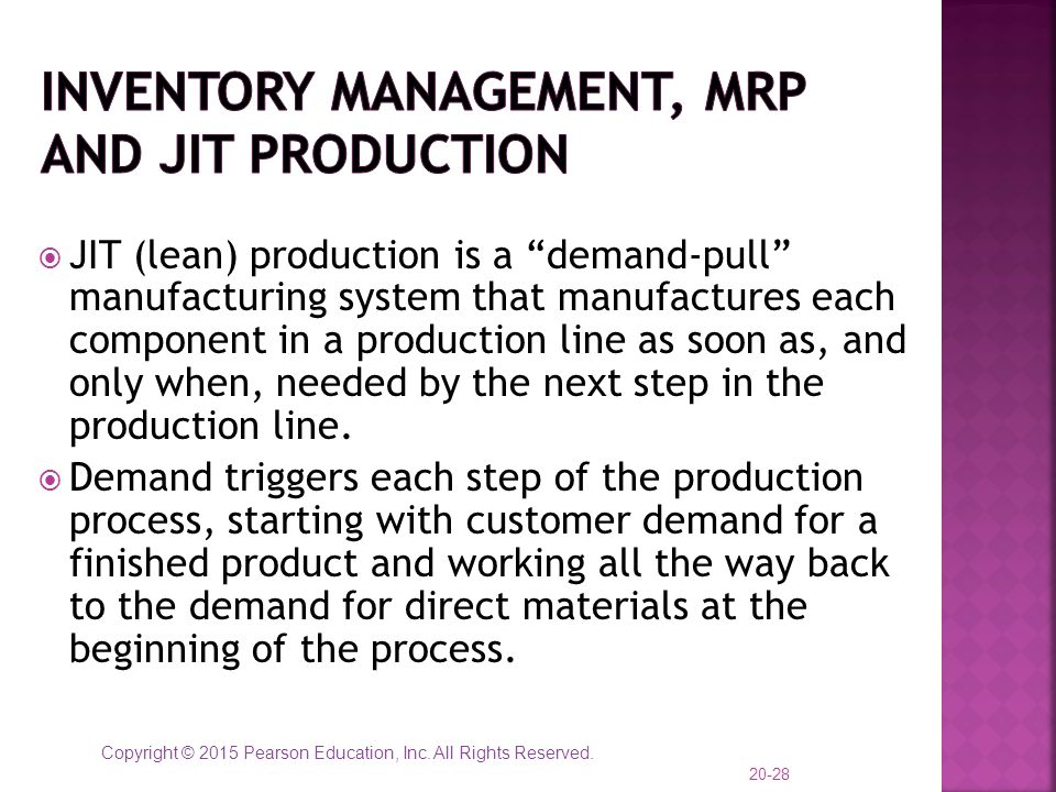 Inventory Management, MRP and JIT Production