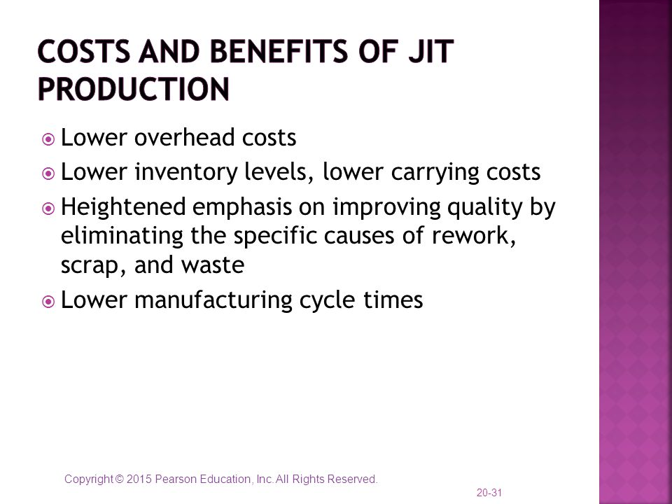 Costs and Benefits of JIT Production