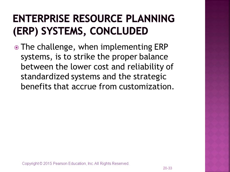 Enterprise Resource Planning (ERP) Systems, concluded
