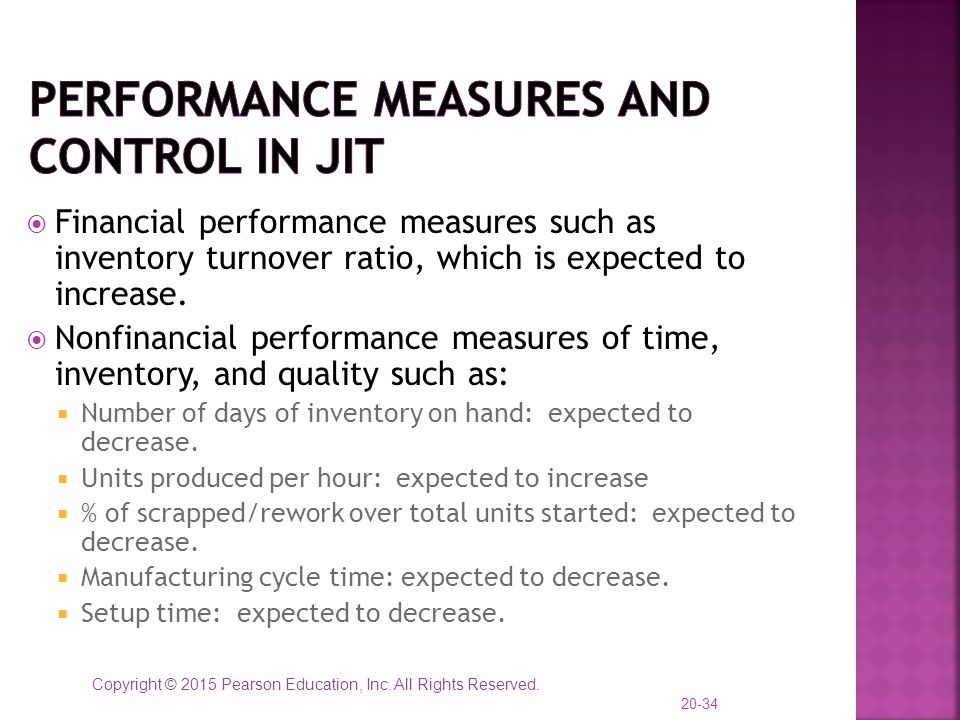 Performance Measures and Control in JIT