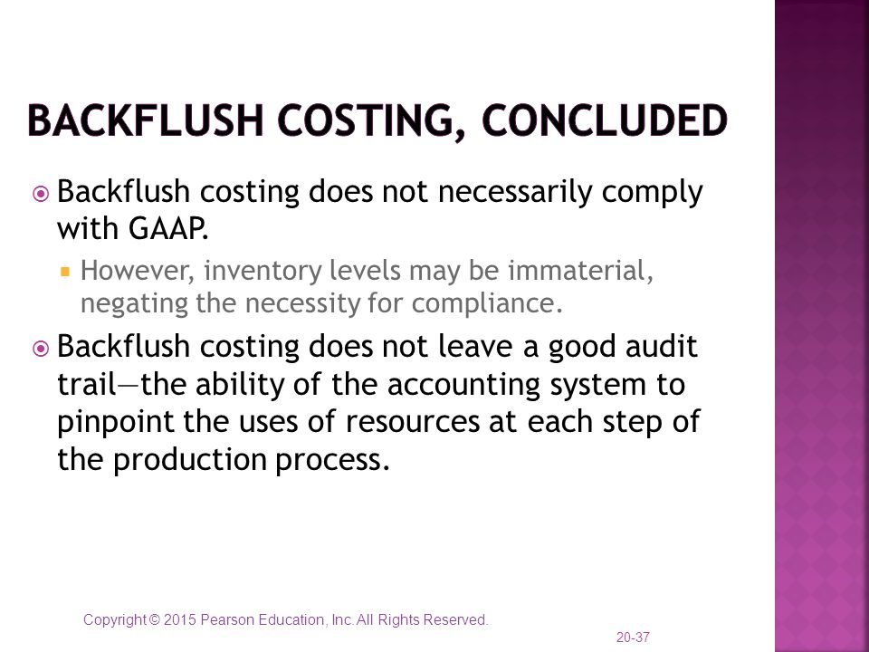 Backflush Costing, concluded