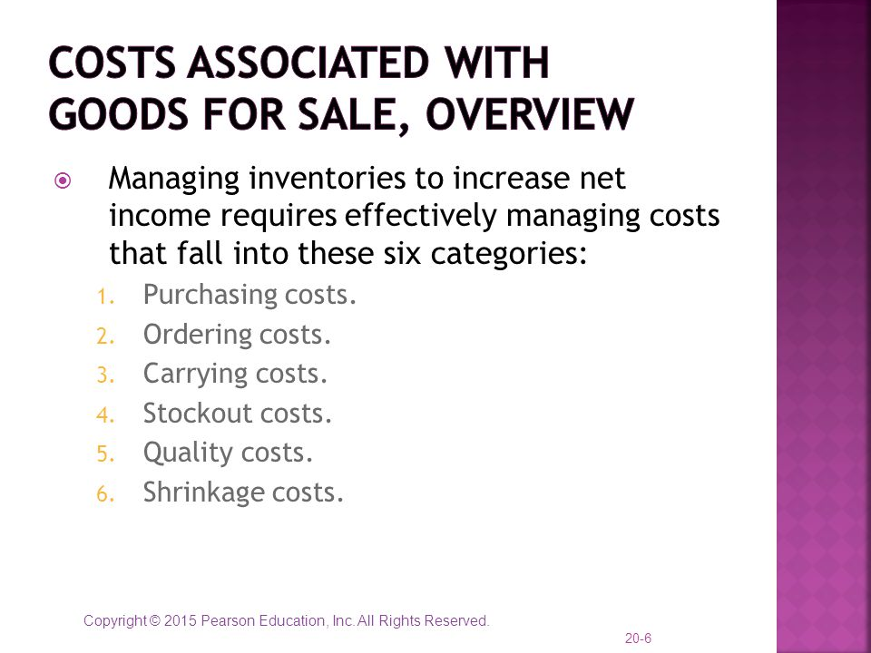 Costs Associated with Goods for Sale, overview