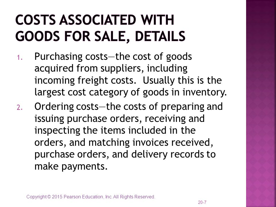 Costs Associated with Goods for Sale, details
