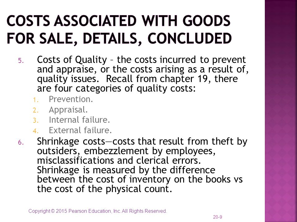 Costs Associated with Goods for Sale, details, concluded