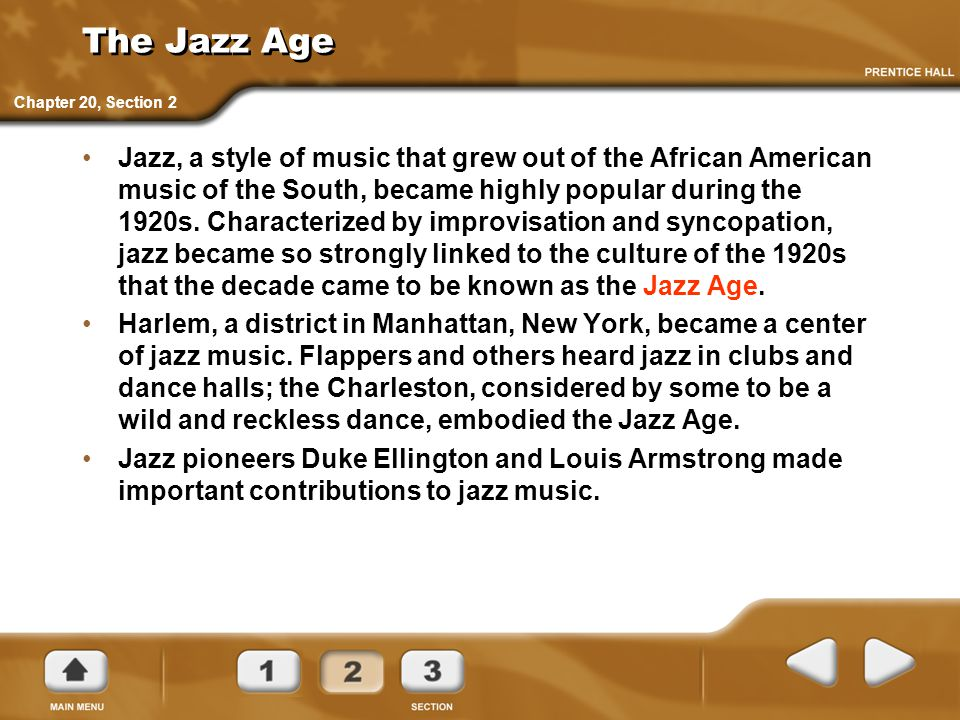 The Jazz Age Chapter 20, Section 2.