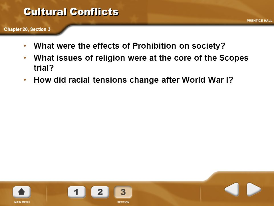 Cultural Conflicts What were the effects of Prohibition on society