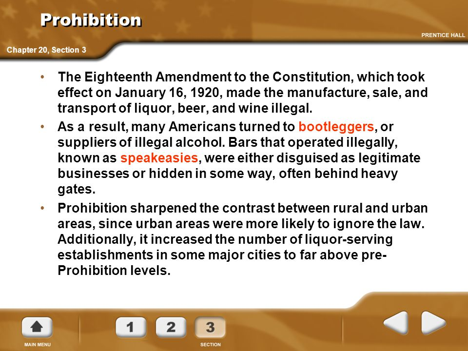 Prohibition Chapter 20, Section 3.