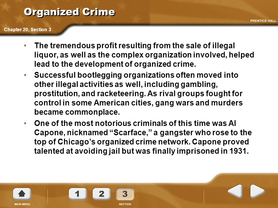 Organized Crime Chapter 20, Section 3.