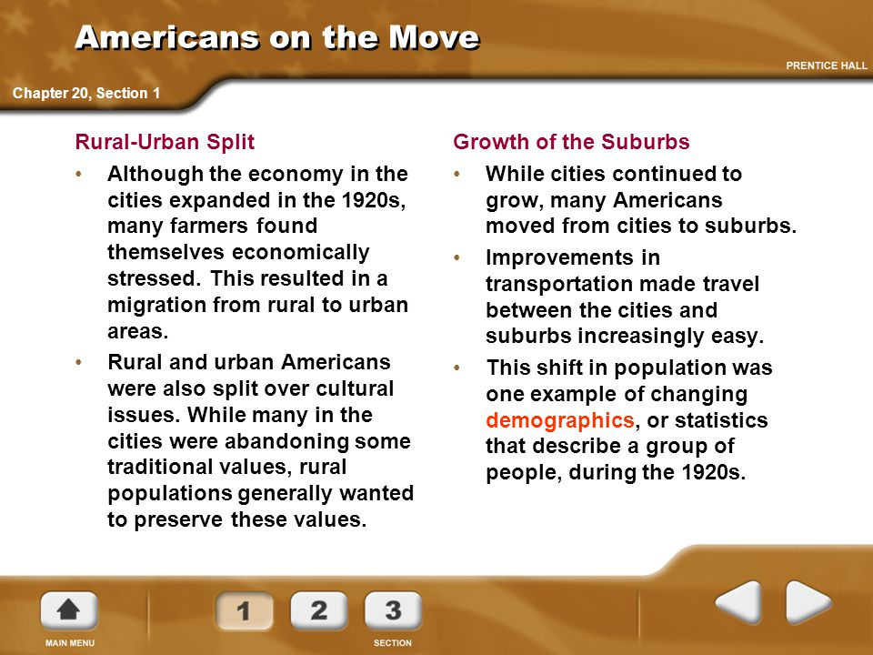 Americans on the Move Rural-Urban Split
