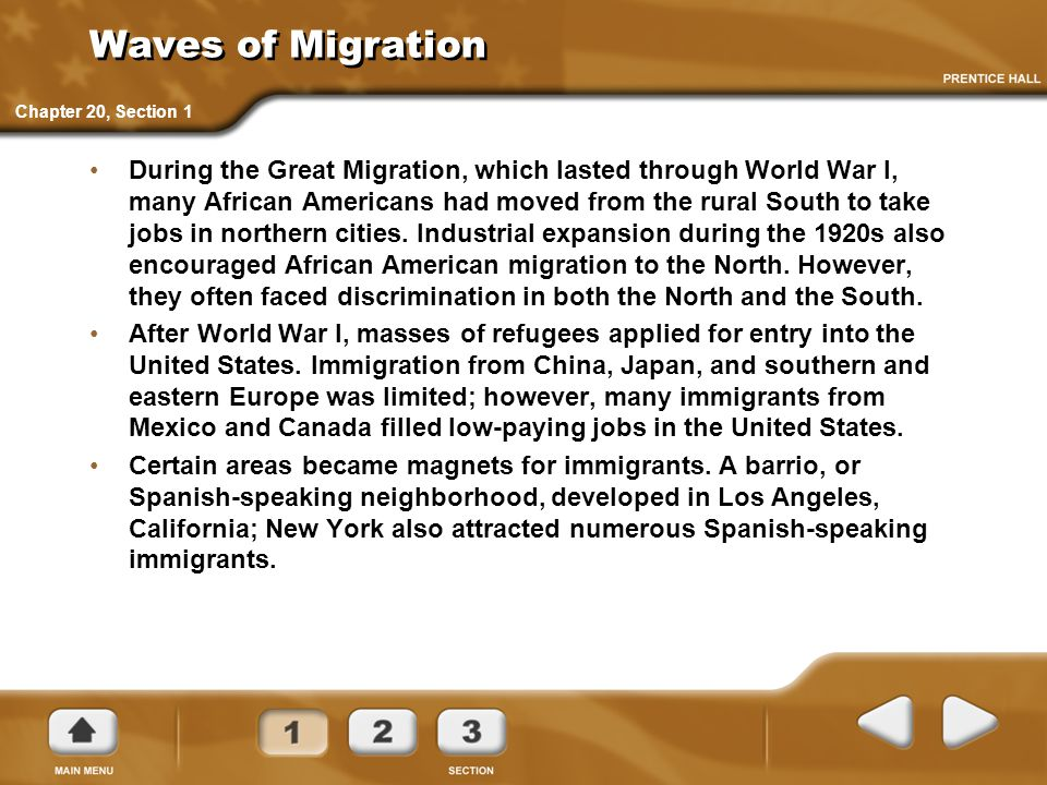 Waves of Migration Chapter 20, Section 1.