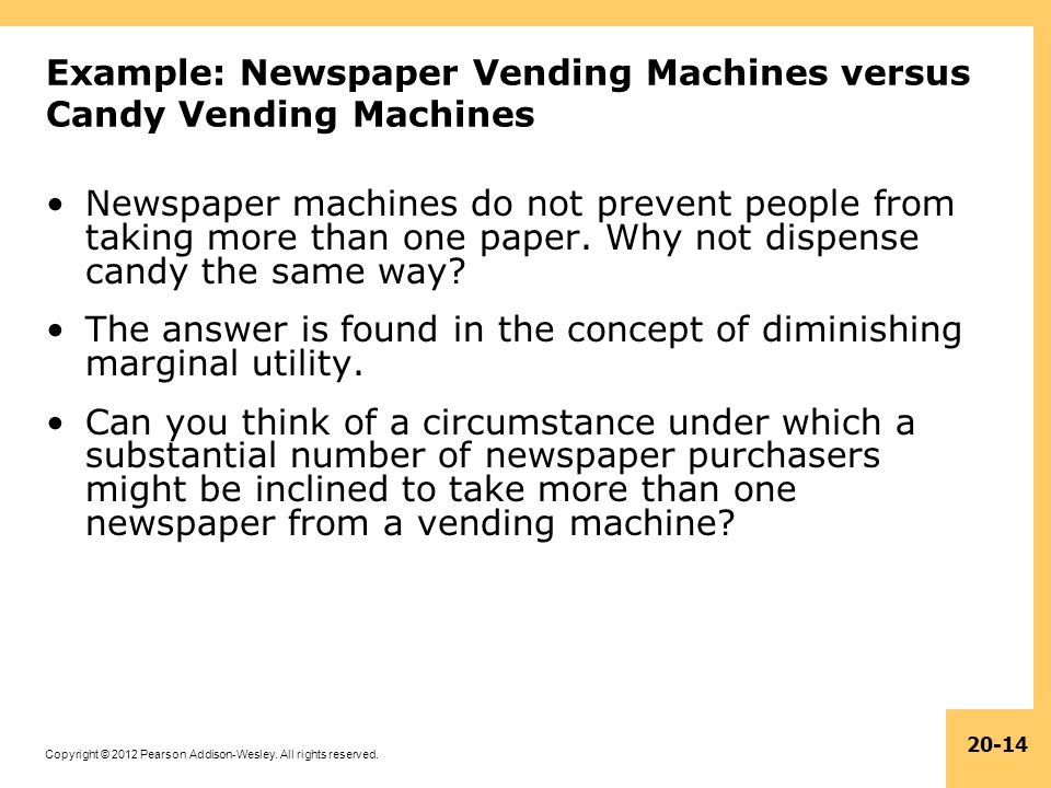 Example: Newspaper Vending Machines versus Candy Vending Machines