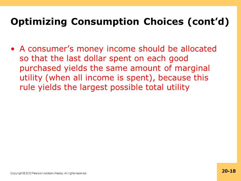 Optimizing Consumption Choices (cont'd)