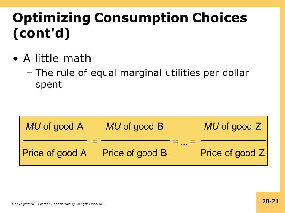 Optimizing Consumption Choices (cont d)