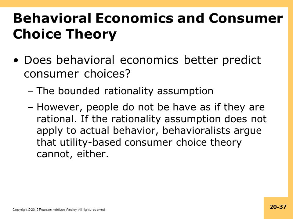 Behavioral Economics and Consumer Choice Theory