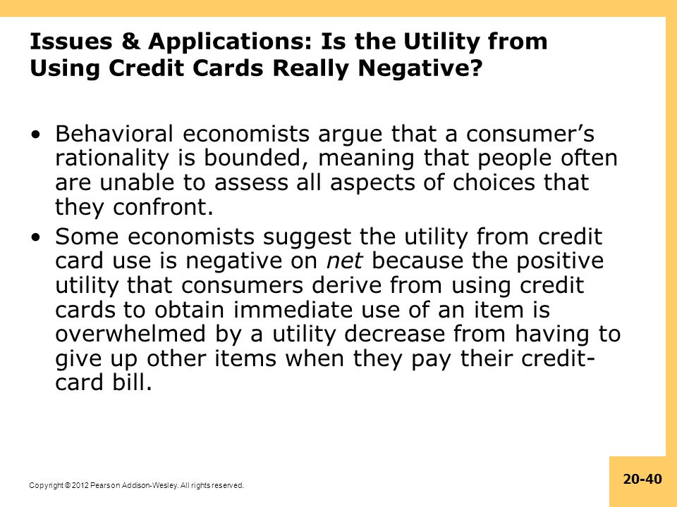 Issues & Applications: Is the Utility from Using Credit Cards Really Negative