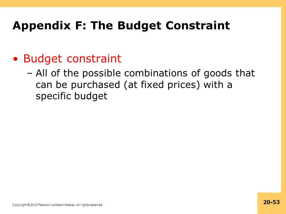 Appendix F: The Budget Constraint
