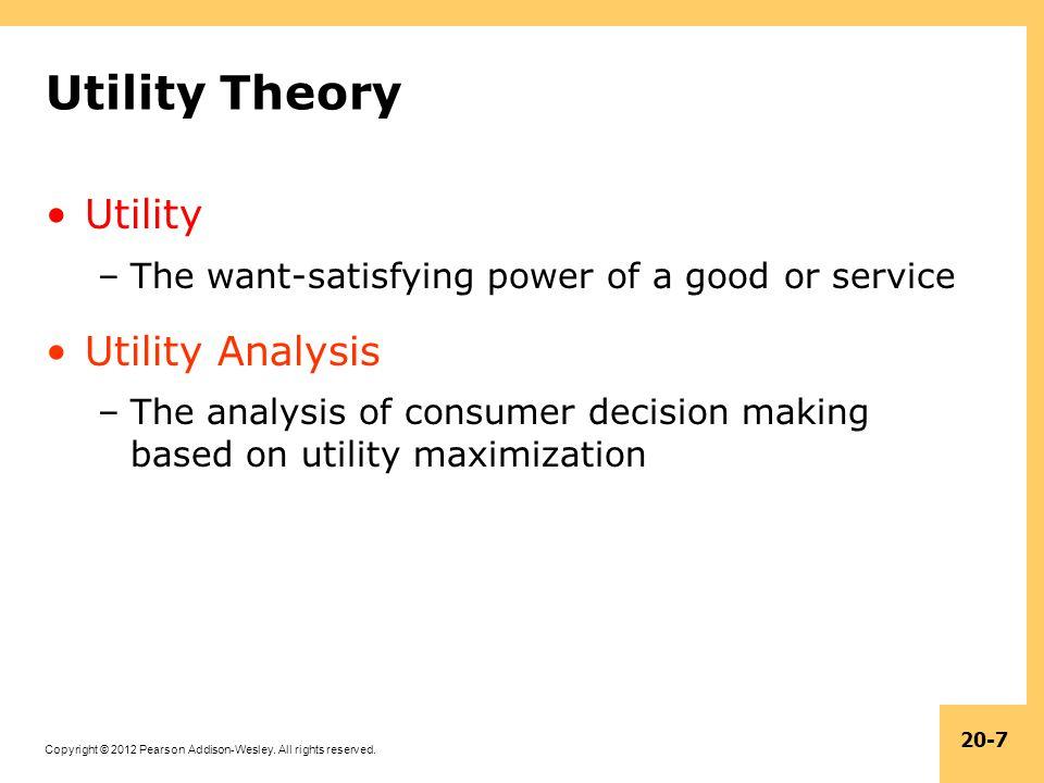 Utility Theory Utility Utility Analysis