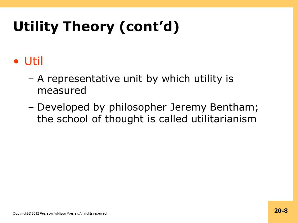 Utility Theory (cont'd)