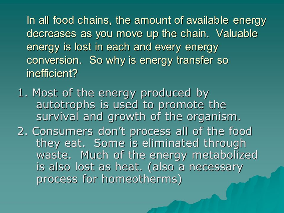 In all food chains, the amount of available energy decreases as you move up the chain. Valuable energy is lost in each and every energy conversion. So why is energy transfer so inefficient